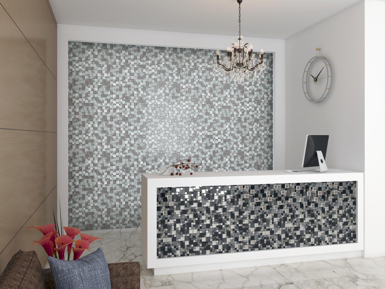 Kaos Grey - Mosaik med både metall och stenfält